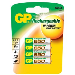 PILES RECHARGEABLES 650 mAh LR03 / AAA x4